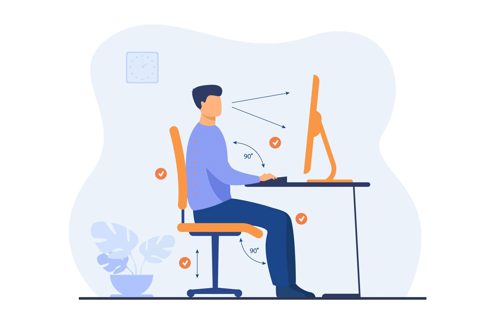Illustration of proper sitting technique.